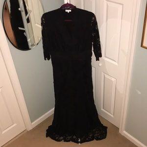 Kiyonna Plus Size Black Overlay Lace Dress